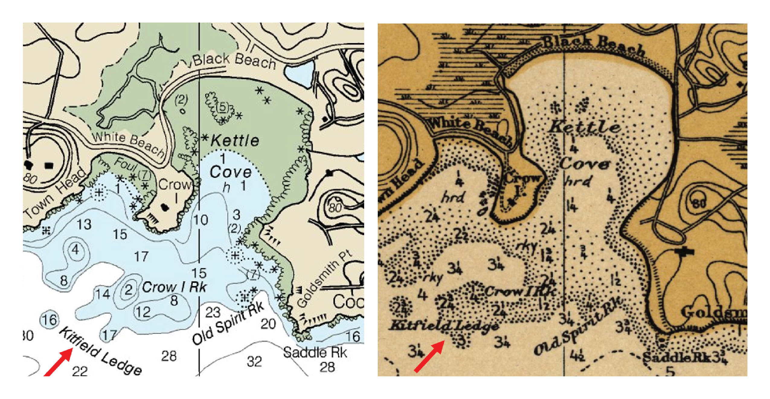 Left: Current edition of NOAA chart 13279. Right: 1912 edition of chart 243.