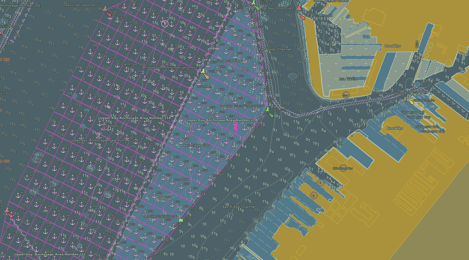 A grid overlay of anchorage grounds in the updated Port of New York and New Jersey ENCs, US5NY19M and US5NY1CM
