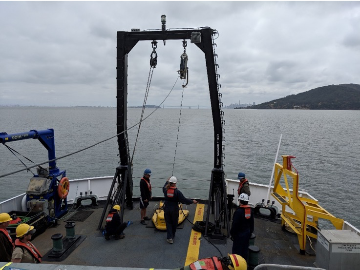 Rainier crew practice deploying the Edgetech Sub-bottom 512 Chirp profiler