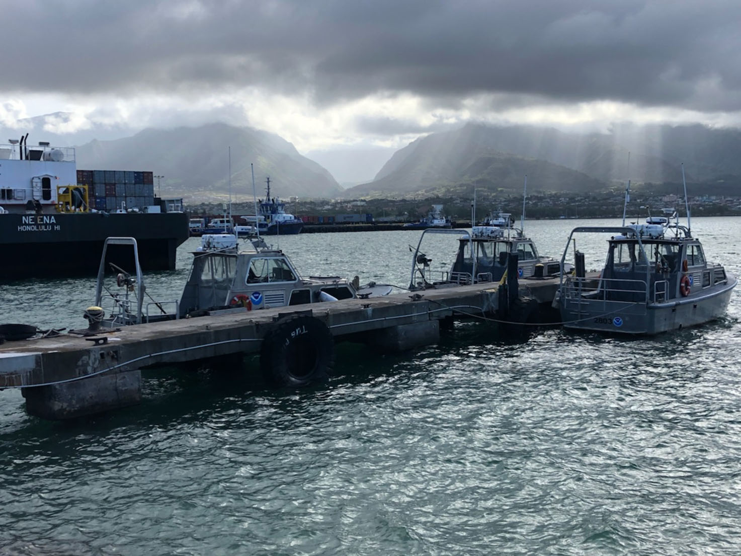 Three of Rainier's hydrographic survey launches moored in Kahului Harbor, Maui.