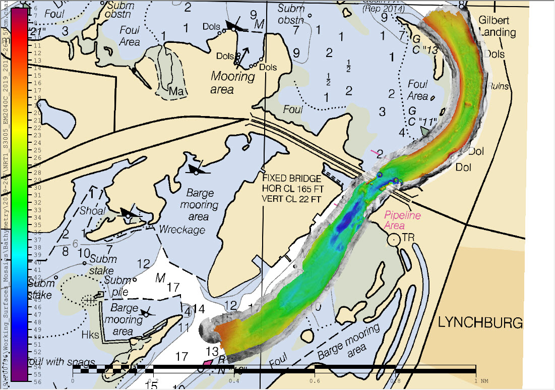 Overview of multibeam and side scan sonar data overlaid on chart 11329.