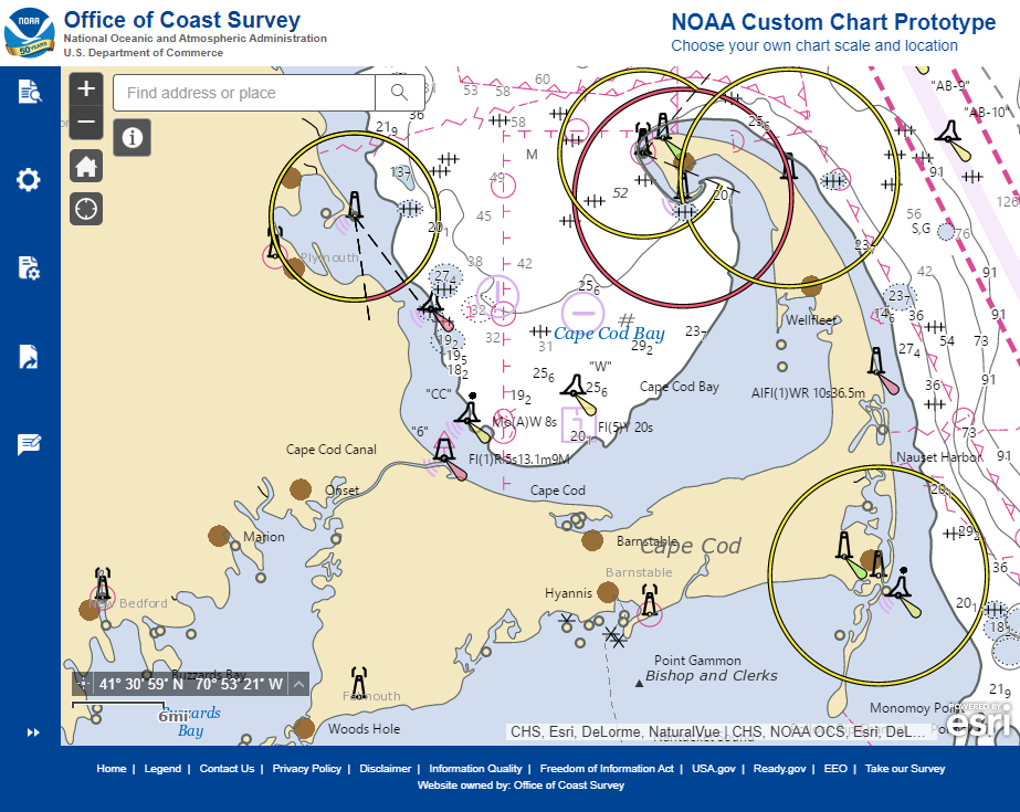 Updated user interface of the NOAA Custom Chart (NCC) prototype web application displaying the Cape Cod, Massachusetts, region.