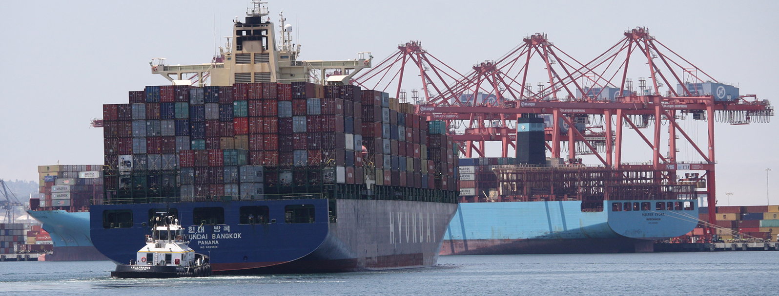Vessel entering the port of Long Beach, California.