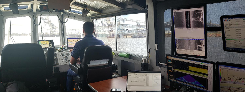 Lt. John Kidd operates the NRT-Stennis vessel in Devil's Elbow.