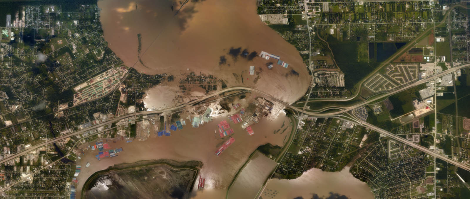 Aerial imagery of inland-coastal flooding during Hurricane Harvey, 2017 in Houston, Texas.