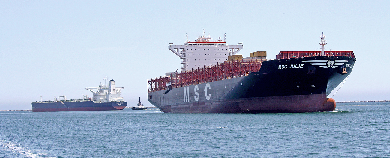 Commercial vessels navigating in the Port of Los Angeles-Long Beach