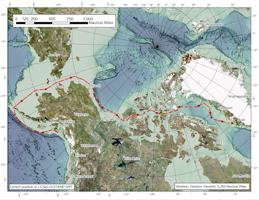 Map showing Healy's track through the Northwest Passage